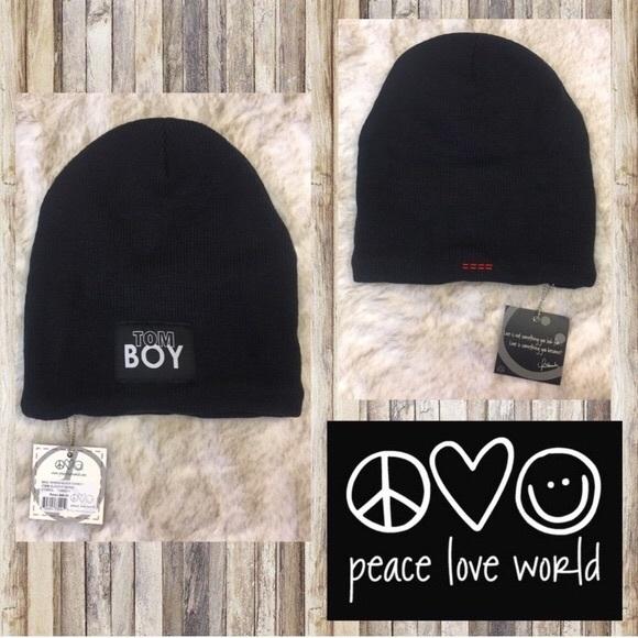 1cd22dfe690 NWT PEACE LOVE WORLD BLACK SLOUCHY BEANIES
